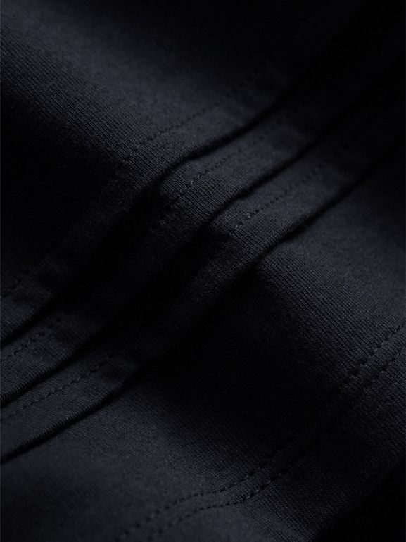 Pleat and Check Detail Cotton Top in Navy | Burberry - cell image 1