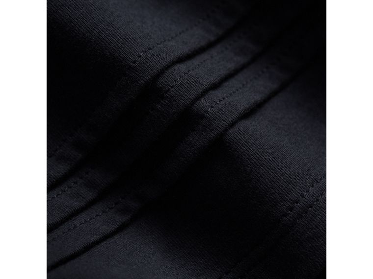 Pleat and Check Detail Cotton Top in Navy | Burberry United Kingdom - cell image 1