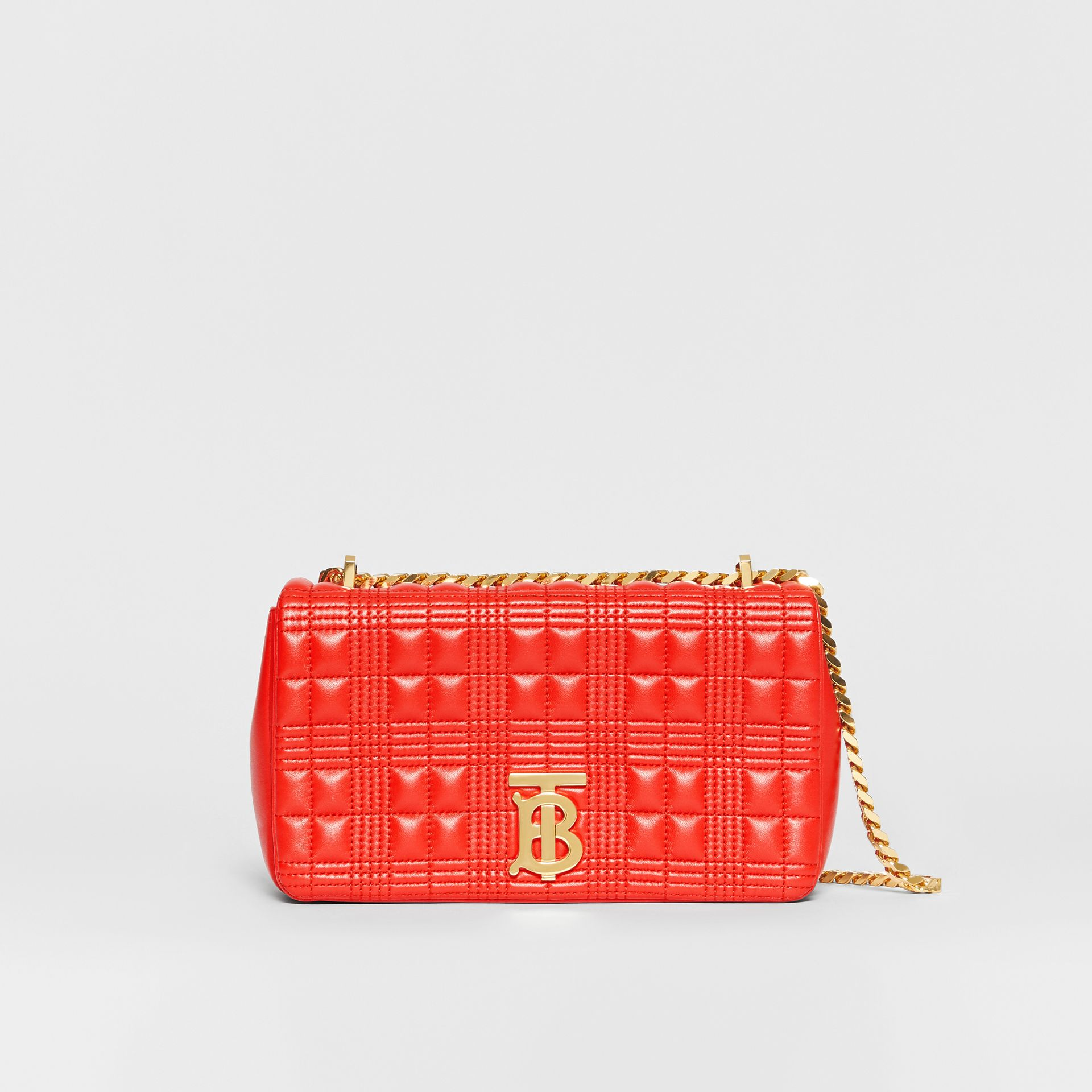 Small Quilted Check Lambskin Lola Bag in Bright Red - Women | Burberry - gallery image 0