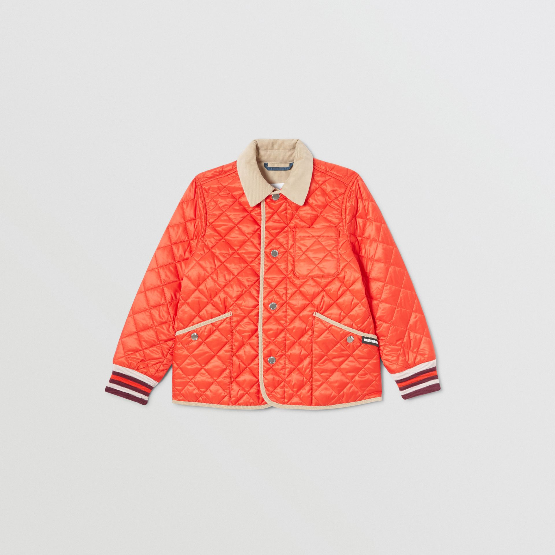 Corduroy Trim Lightweight Diamond Quilted Jacket in Bright Coral Orange | Burberry - gallery image 0