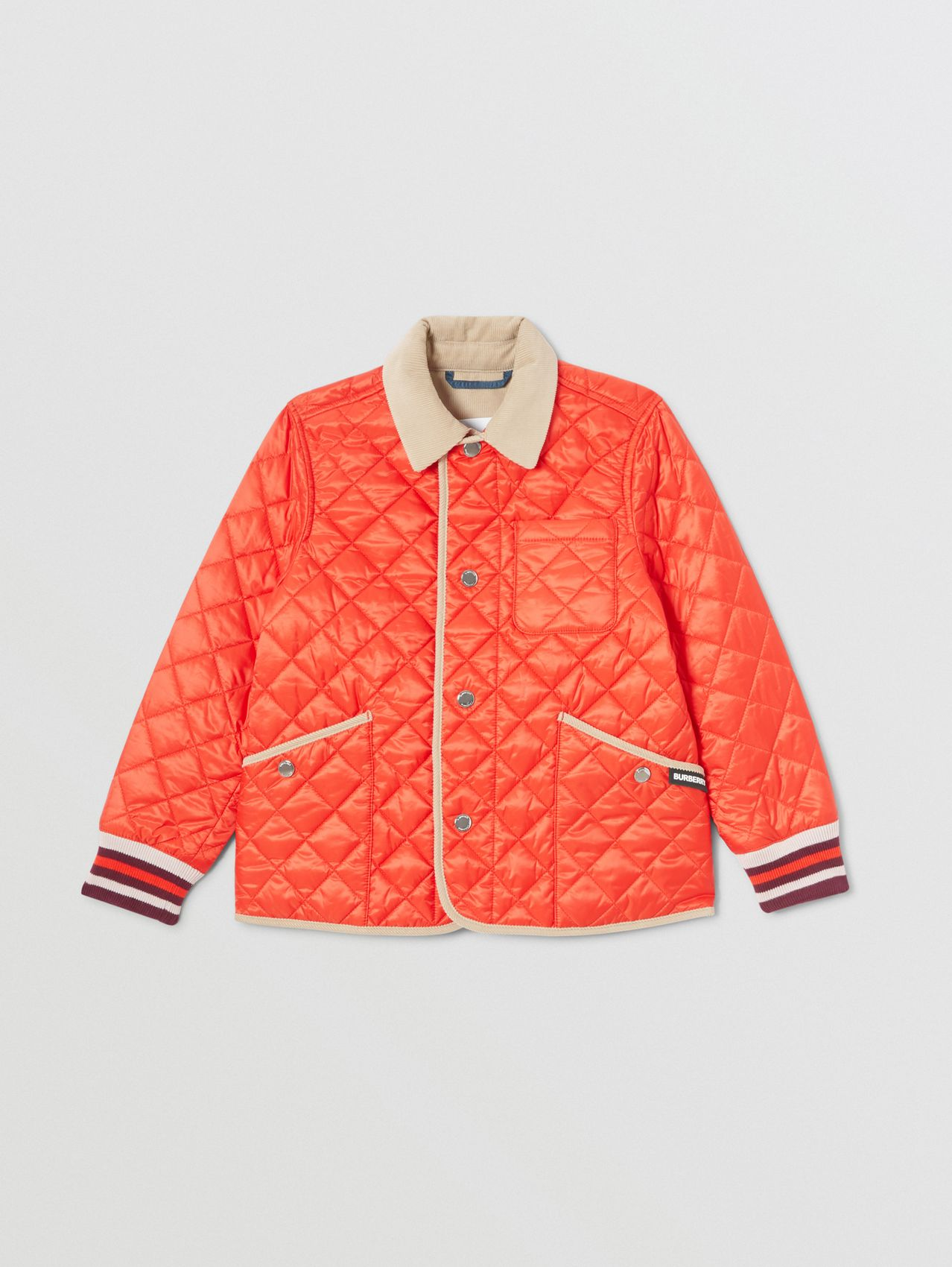 Corduroy Trim Lightweight Diamond Quilted Jacket in Bright Coral Orange