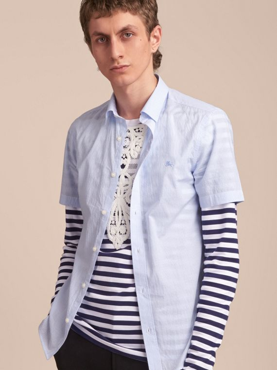Short-sleeve Striped Cotton Seersucker Shirt in Light Blue - Men | Burberry