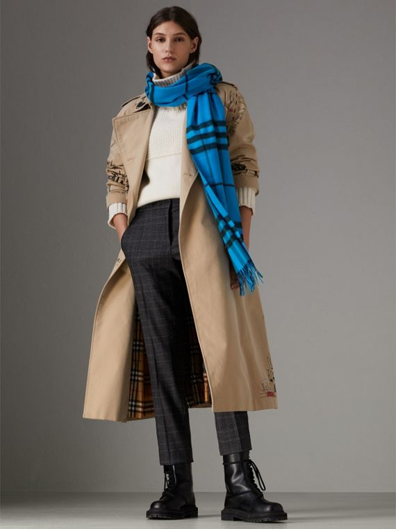 Overdyed Exploded Check Cashmere Scarf in Bright Blue | Burberry - cell image 2