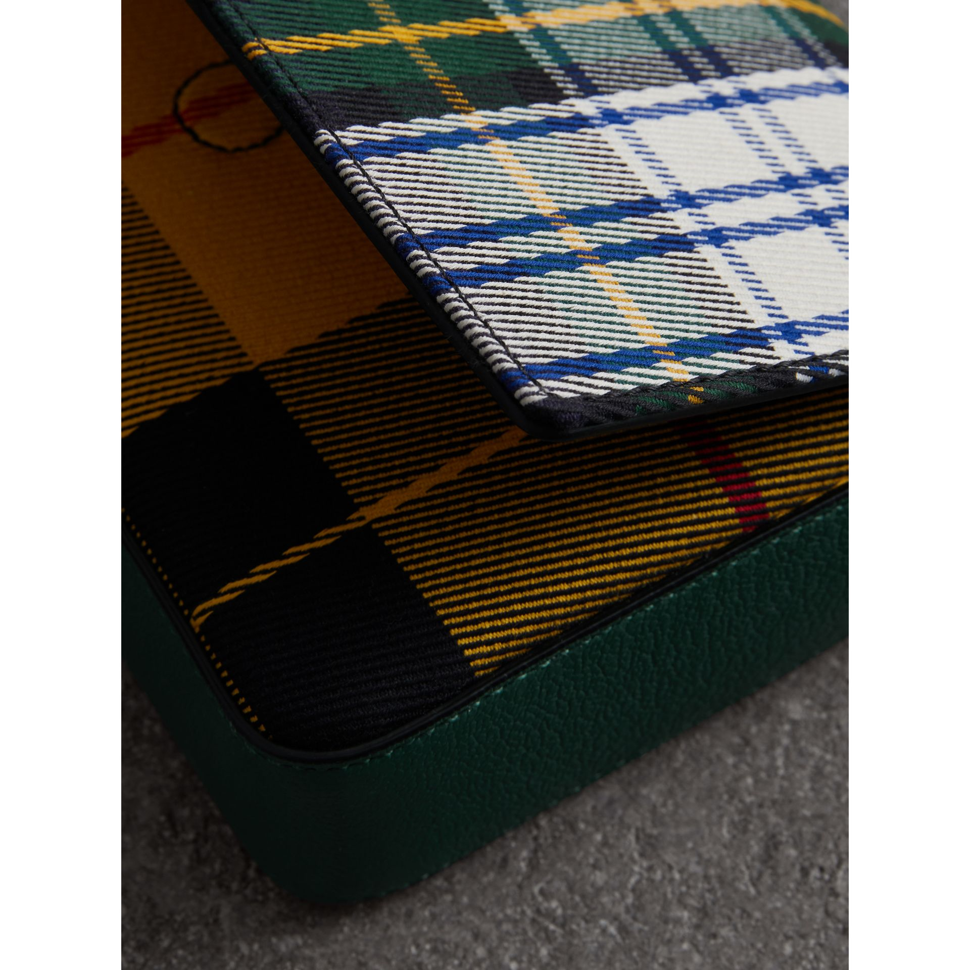 Tartan and Leather Wallet with Detachable Strap in Green/multicolour - Women | Burberry Australia - gallery image 1