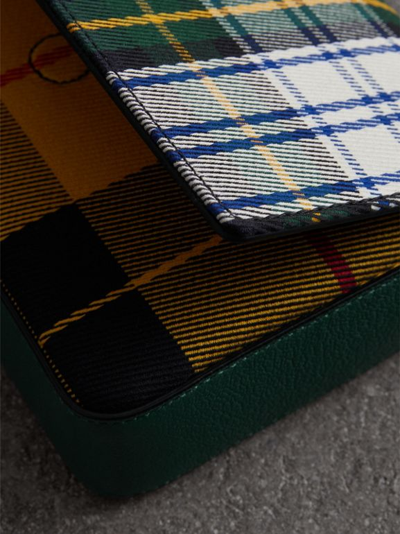 Tartan and Leather Wallet with Detachable Strap in Green/multicolour - Women | Burberry Australia - cell image 1