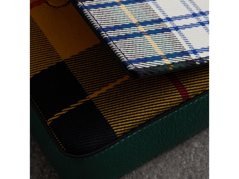 Tartan and Leather Wallet with Detachable Strap in Green/multicolour - Women | Burberry - cell image 1
