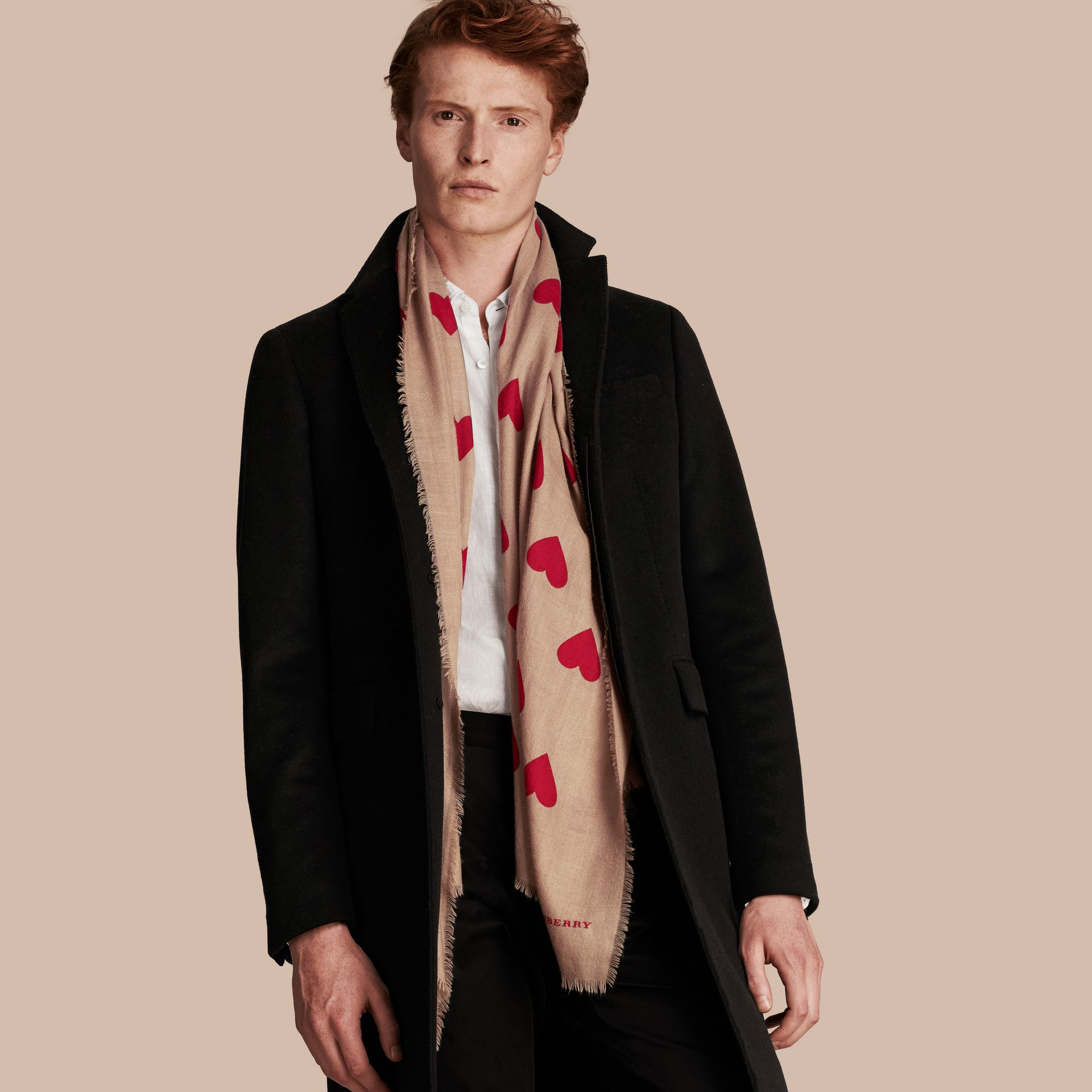 Camel/parade red The Lightweight Cashmere Scarf in Heart Print Camel/parade Red - gallery image 3