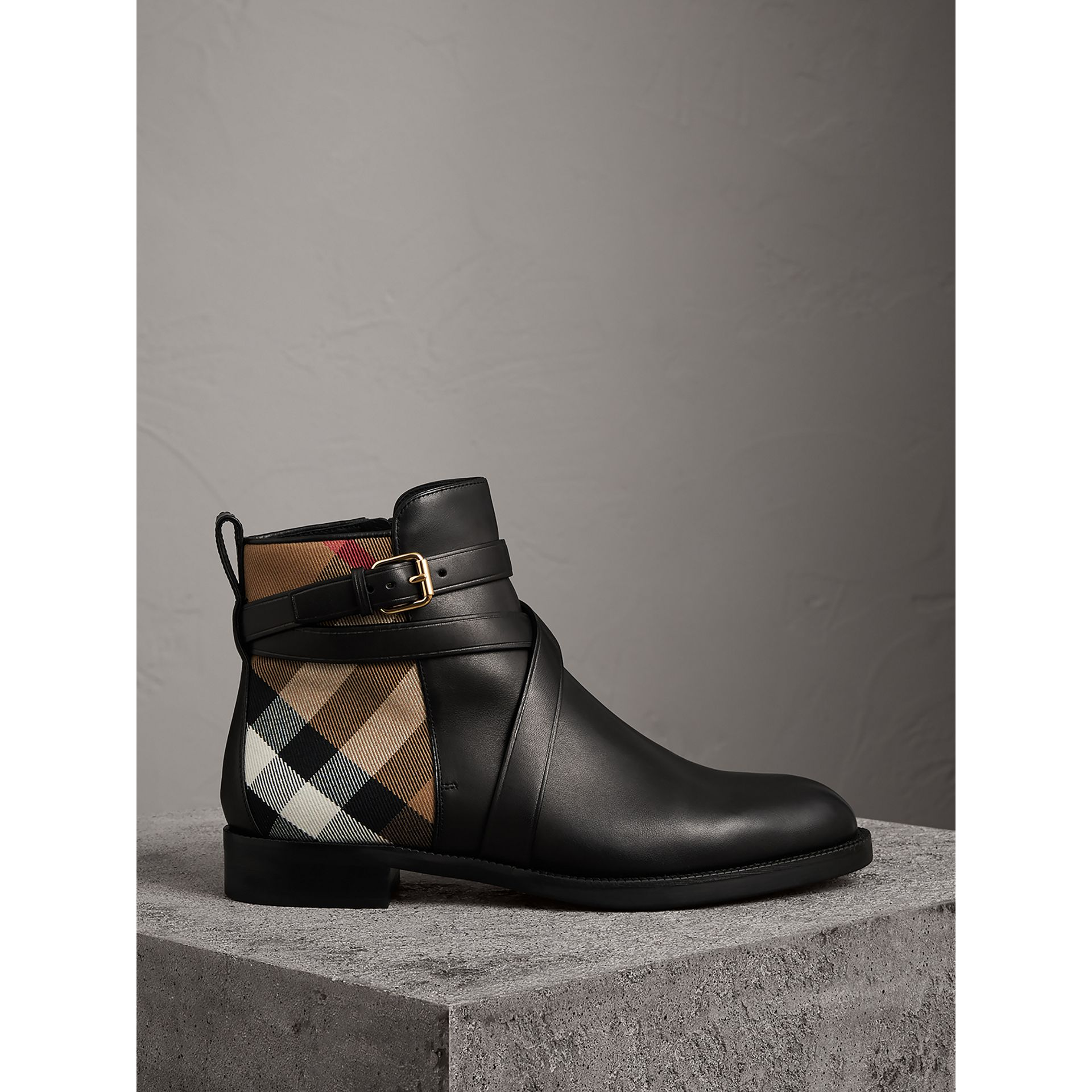 Strap Detail House Check and Leather Ankle Boots in Black - Women | Burberry - gallery image 1