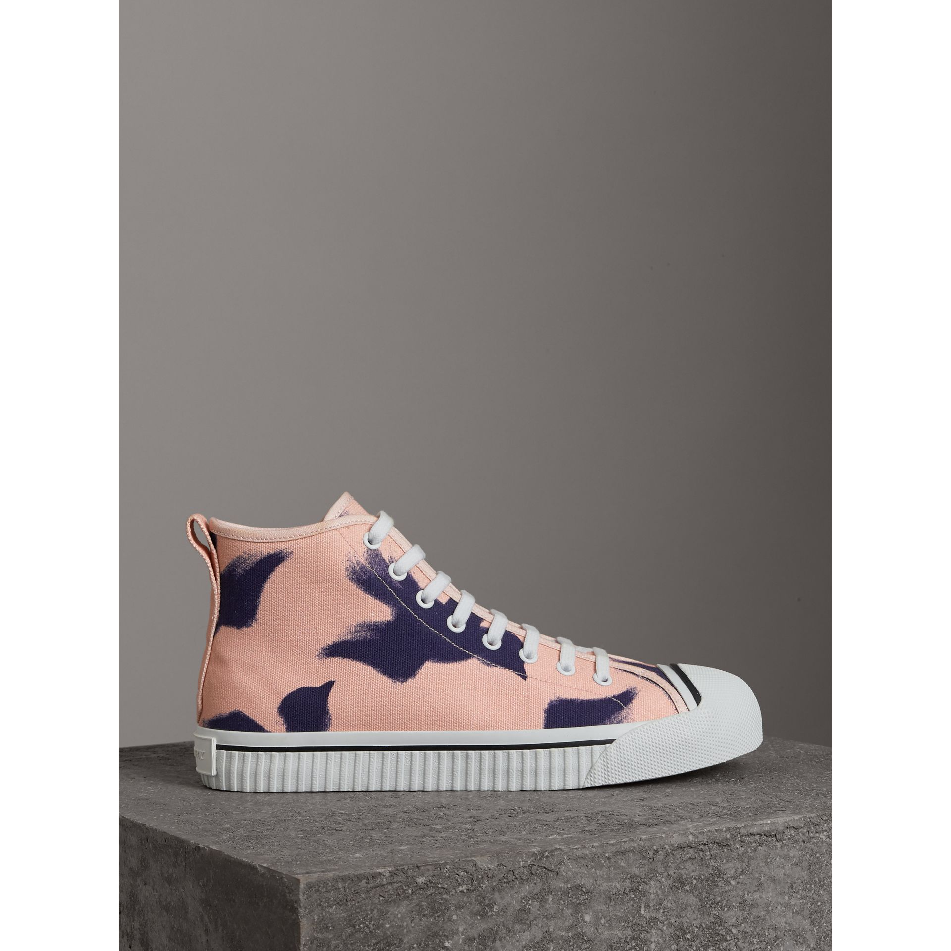 Bird Print Canvas High-top Sneakers in Apricot Pink - Men | Burberry Singapore - gallery image 3