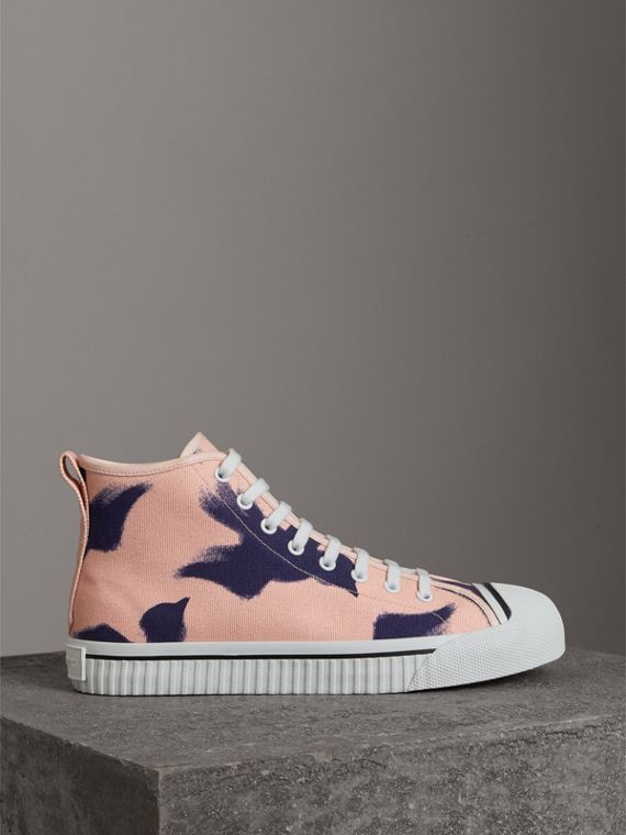 Bird Print Canvas High-top Sneakers in Apricot Pink - Men | Burberry Singapore - cell image 3