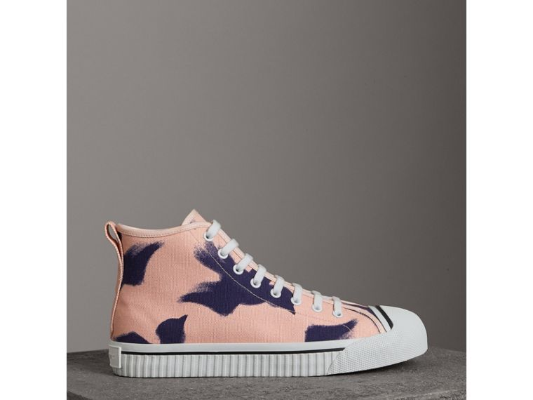 Bird Print Canvas High-top Sneakers in Apricot Pink - Men | Burberry - cell image 4