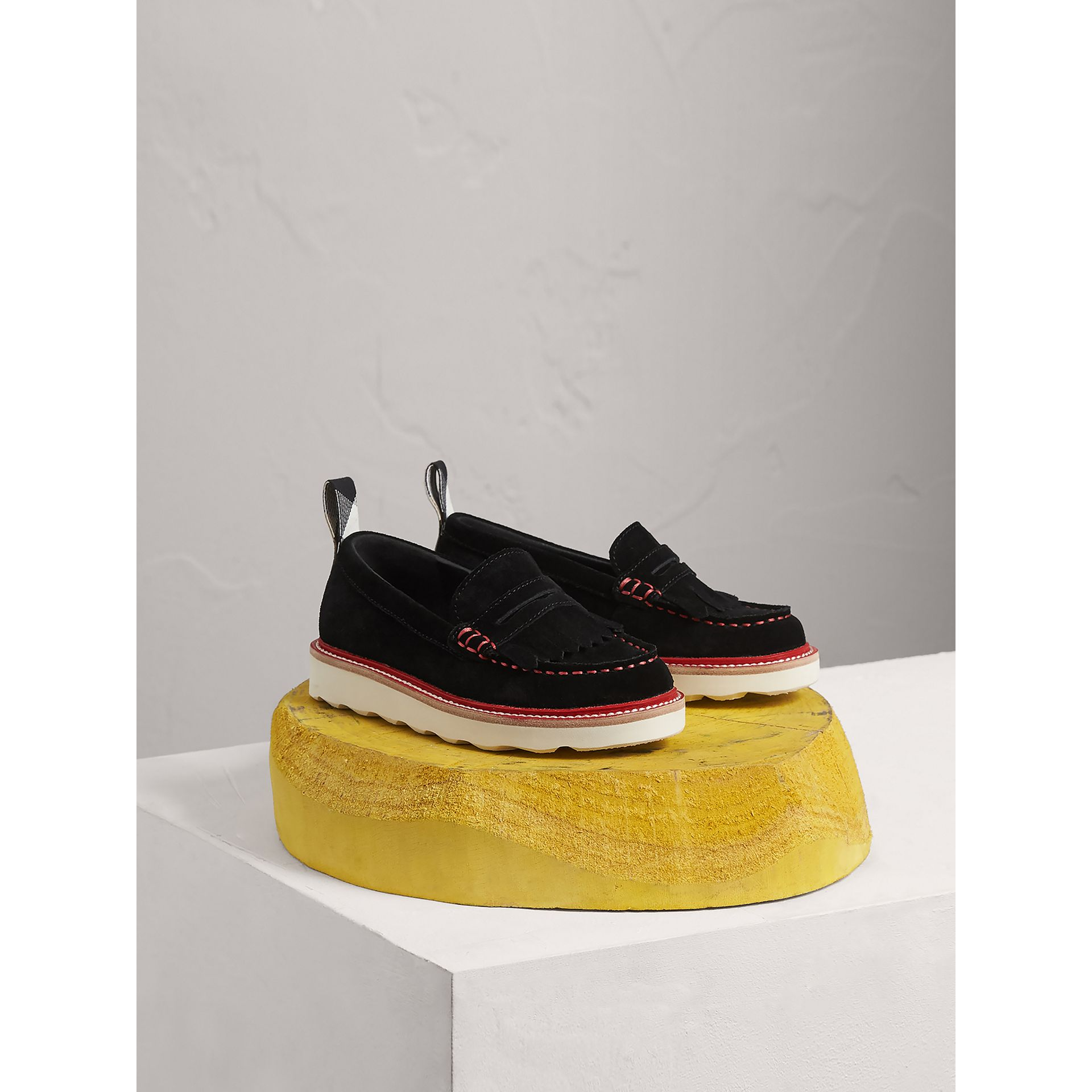 Mocassins Penny Loafers en cuir velours bicolore (Noir) | Burberry - photo de la galerie 1
