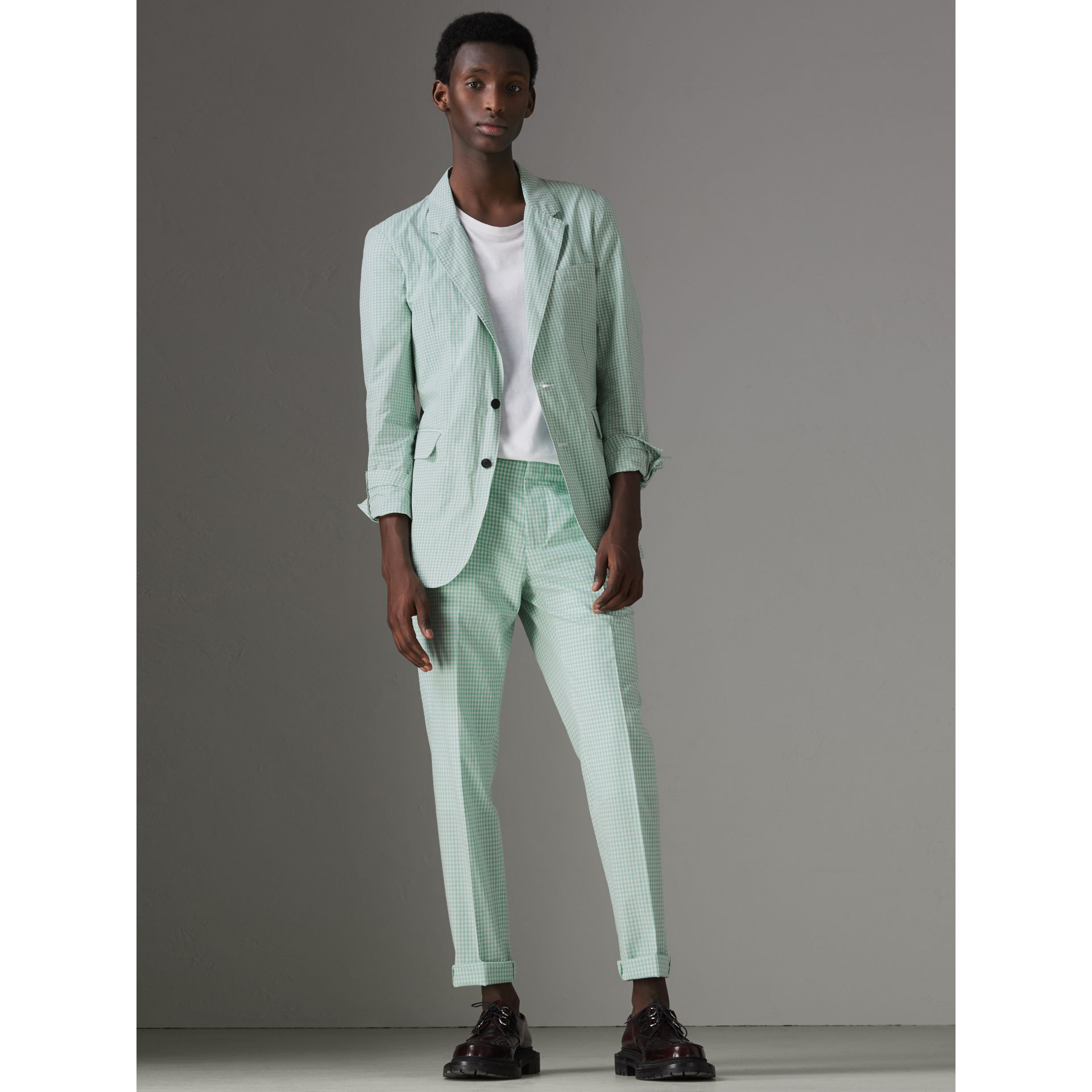 Gingham Cotton Tailored Trousers in Pale Opal - Men | Burberry Singapore - gallery image 5