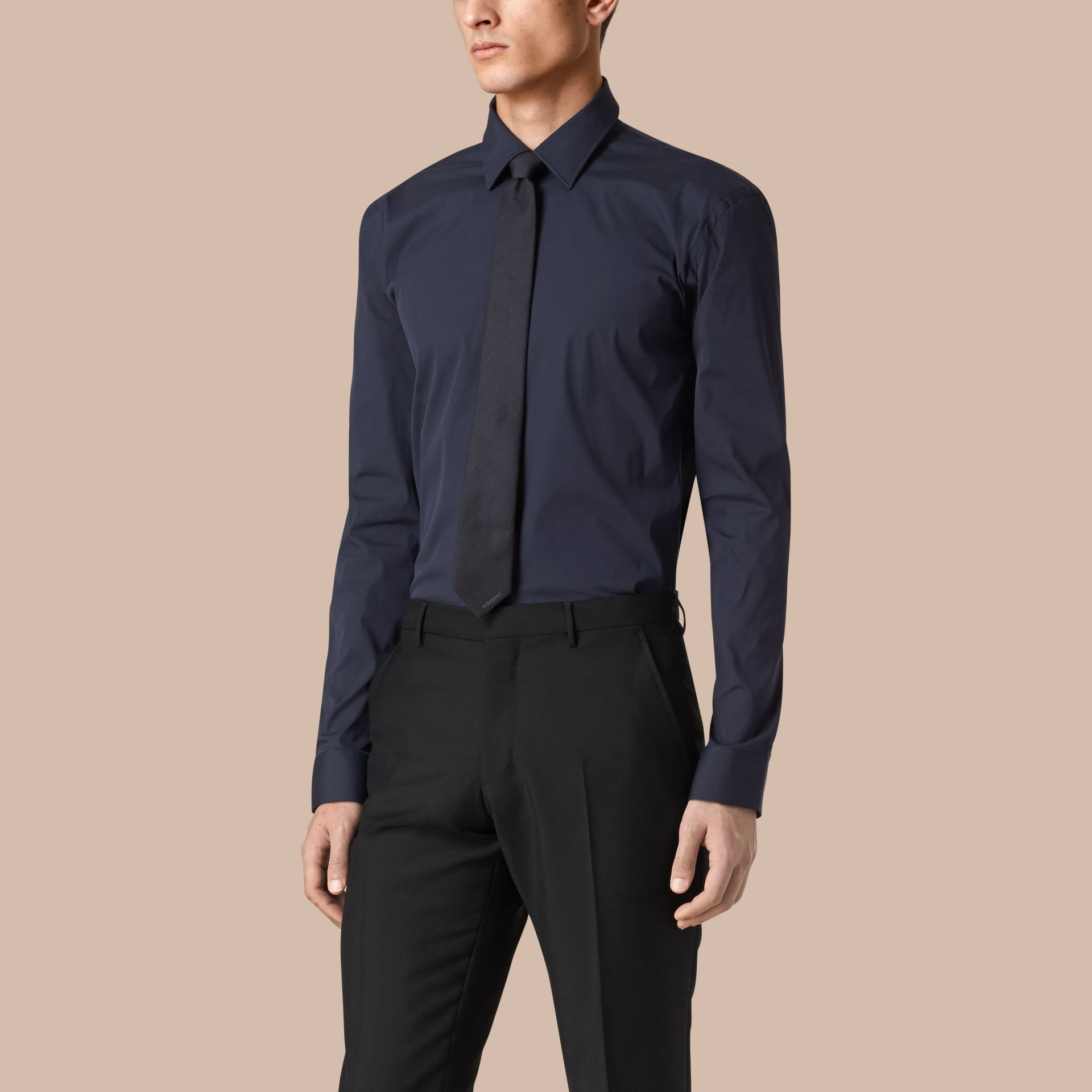 Navy Modern Fit Stretch Cotton Shirt Navy - gallery image 1