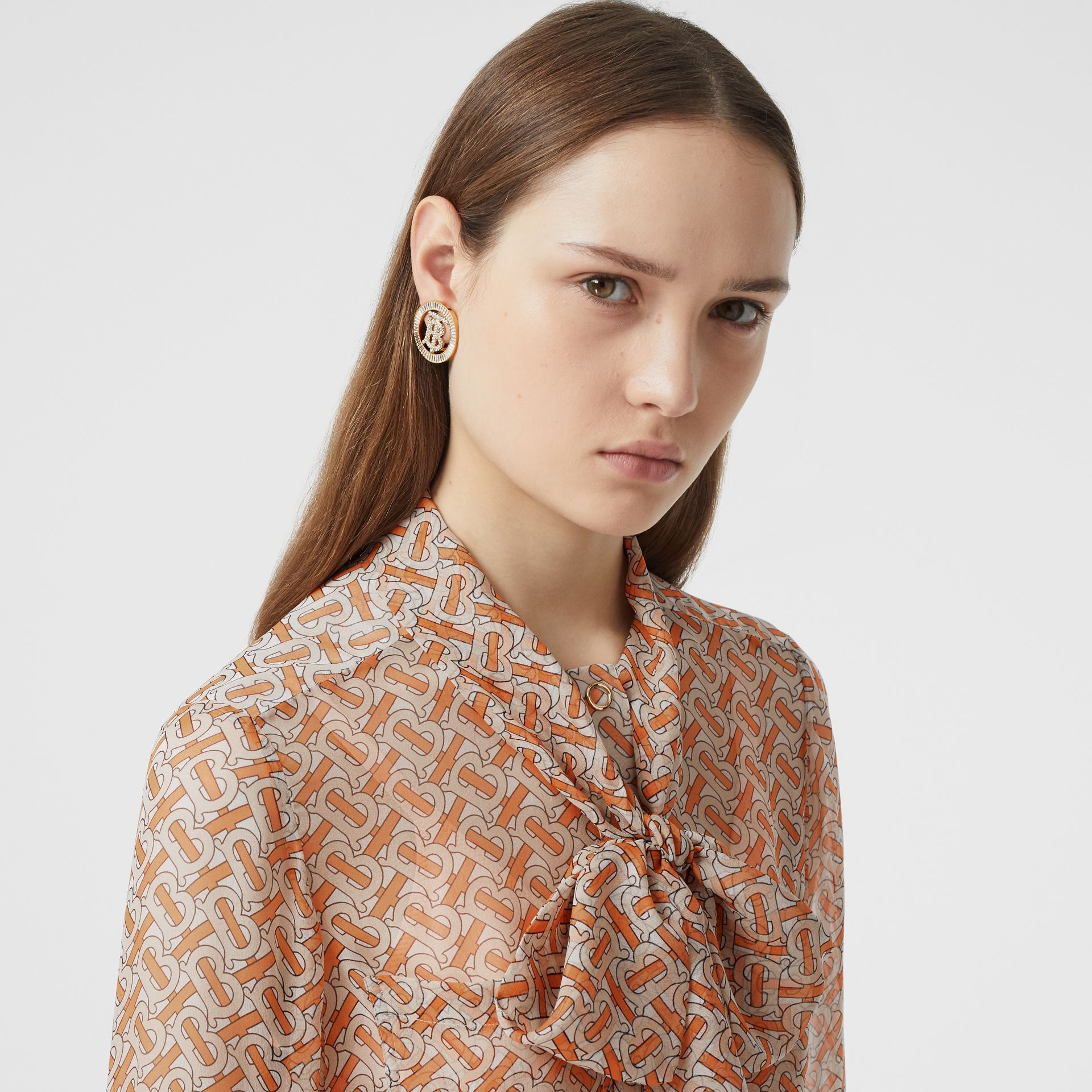 Monogram Print Silk Chiffon Pussy-bow Blouse in Bright Orange - Women | Burberry United Kingdom - gallery image 1