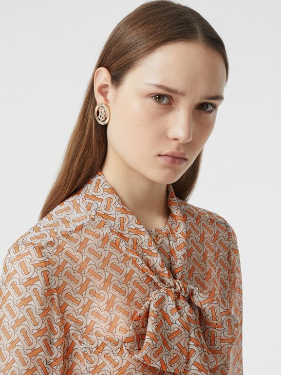 Monogram Print Silk Chiffon Pussy-bow Blouse in Bright Orange - Women | Burberry United Kingdom - cell image 1