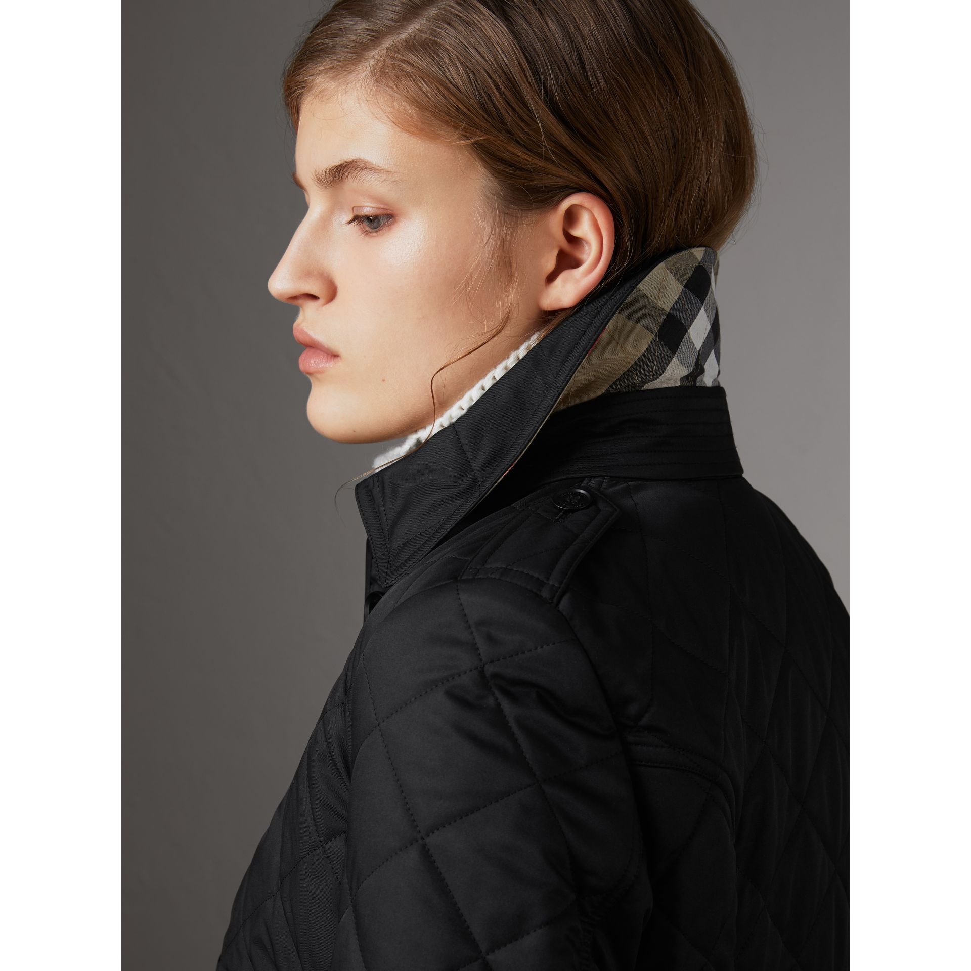 Diamond Quilted Jacket in Black - Women | Burberry Australia - gallery image 1