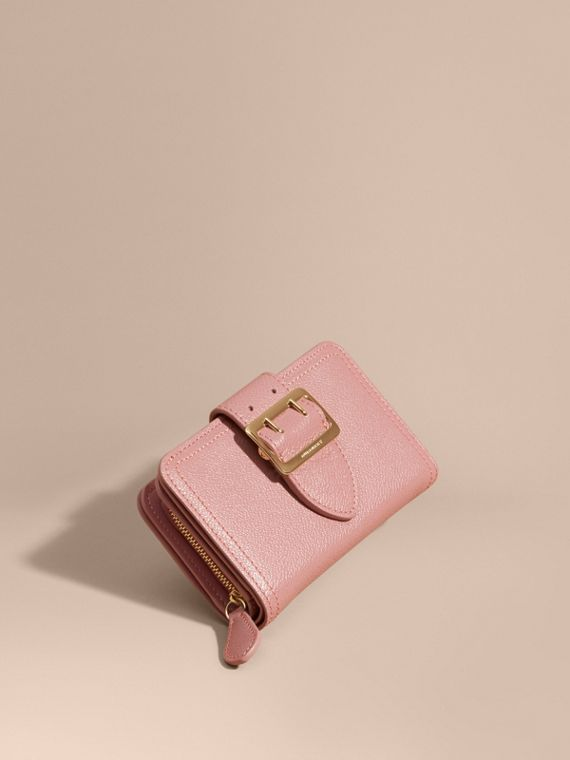Buckle Detail Grainy Leather Wallet Dusty Pink