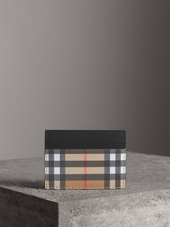 Vintage Check Leather Card Case in Black