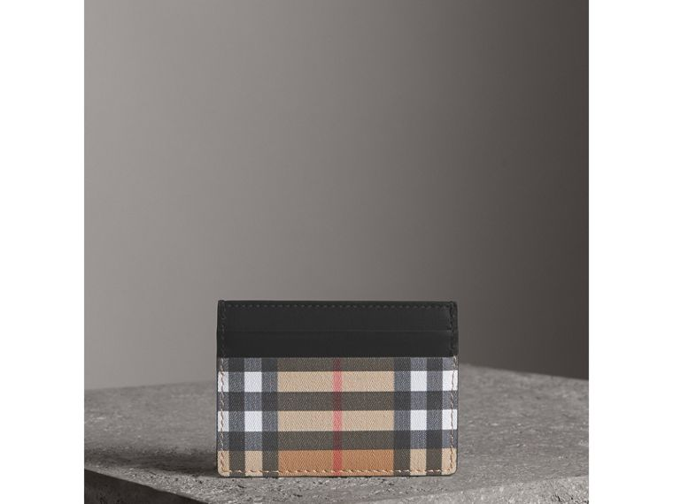 Vintage Check Leather Card Case in Black | Burberry Australia - cell image 4