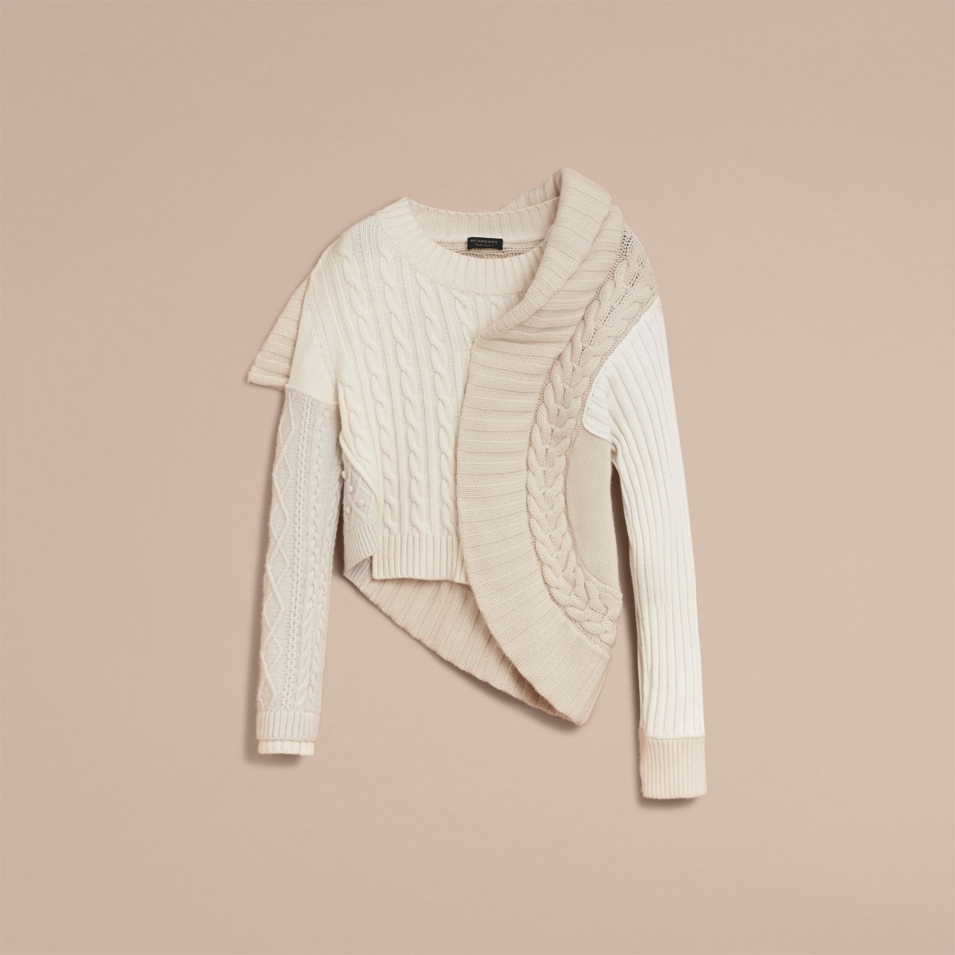 Panelled Cashmere, Cotton and Wool Sweater in Natural White - Women | Burberry Canada - gallery image 4
