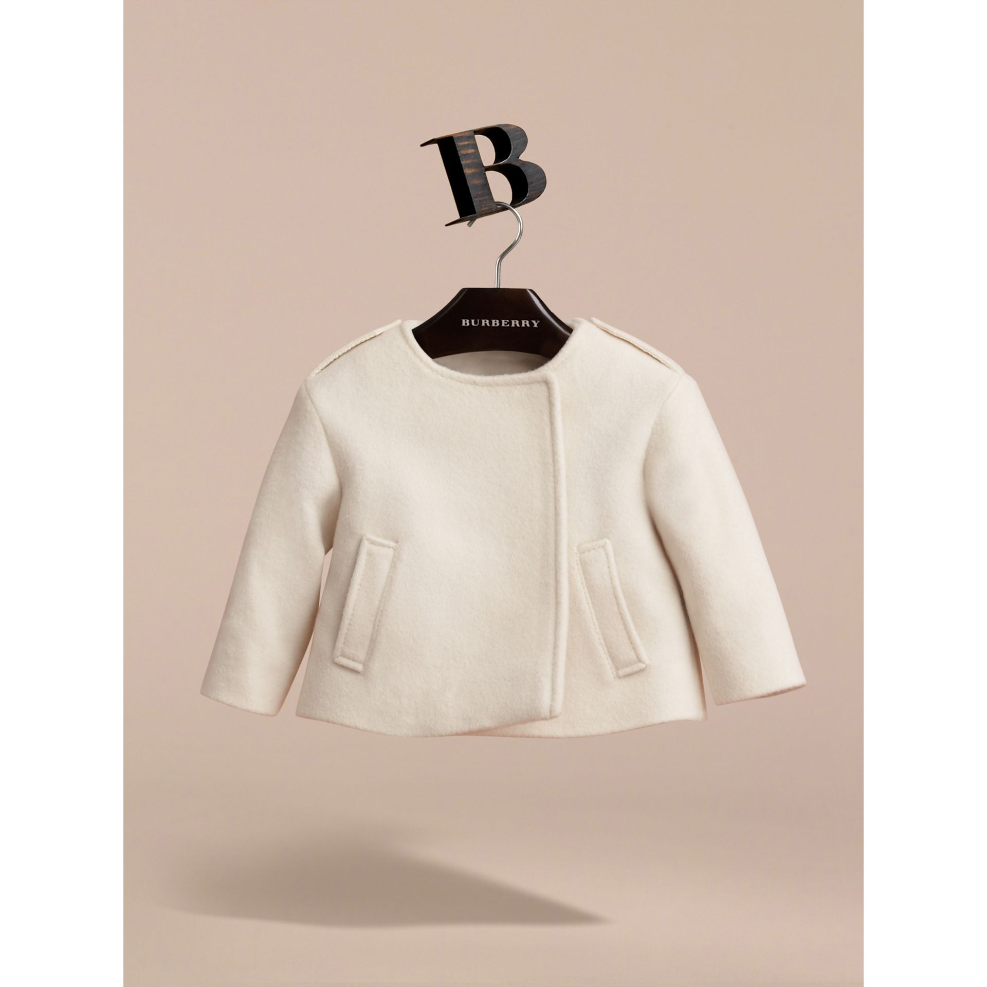 Collarless Cotton Cashmere Jacket in White | Burberry - gallery image 3
