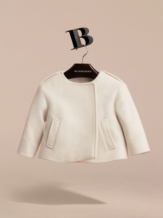 Collarless Cotton Cashmere Jacket in White | Burberry - cell image 2