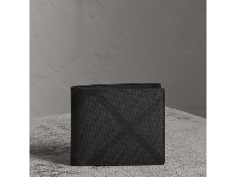 London Check Bifold Wallet with Removable Card Case in Charcoal/black - Men | Burberry - cell image 4