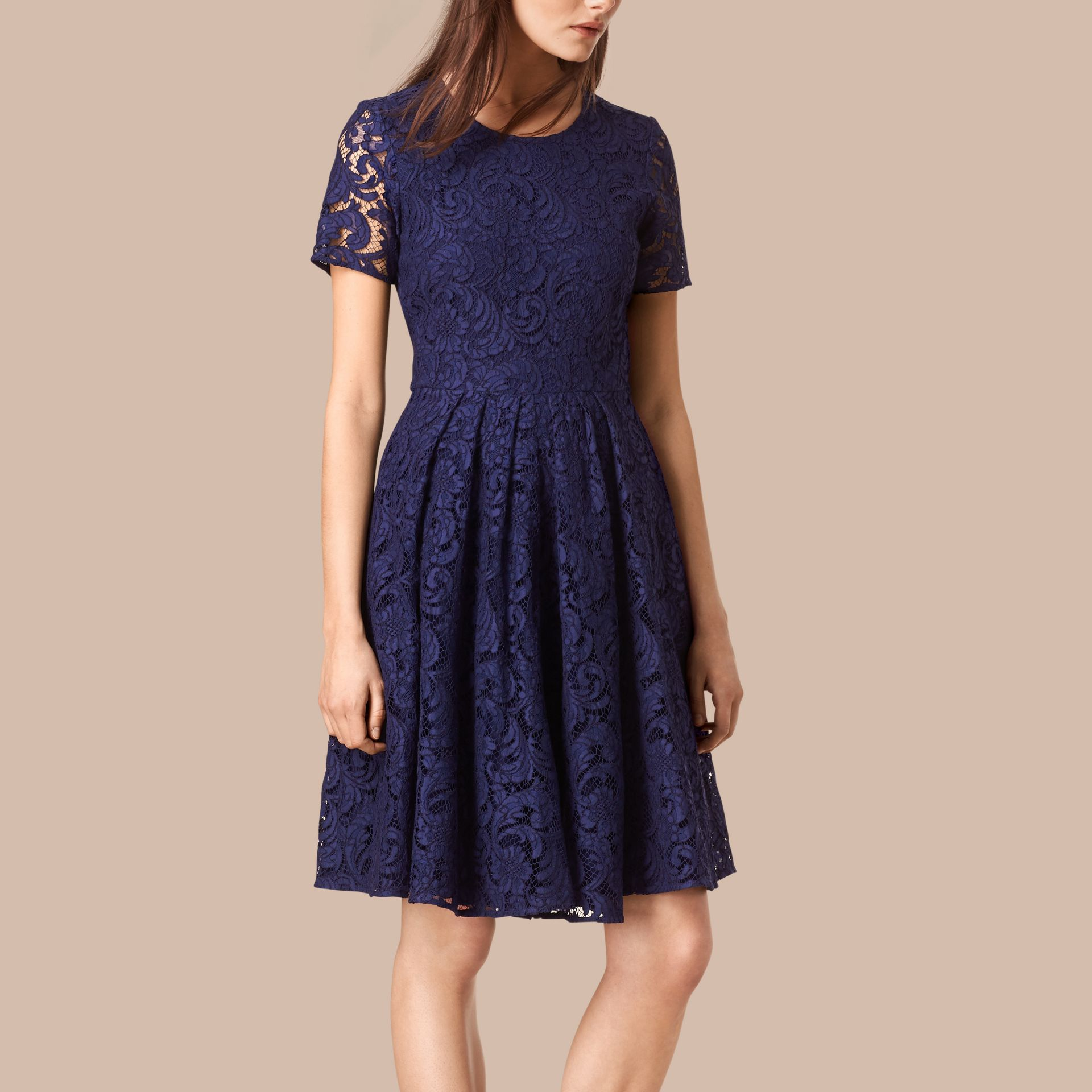 Bright regency blue French Lace A-line Dress - gallery image 1