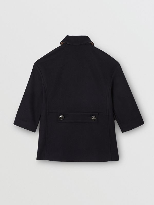 Wool Tailored Pea Coat in Navy | Burberry - cell image 3