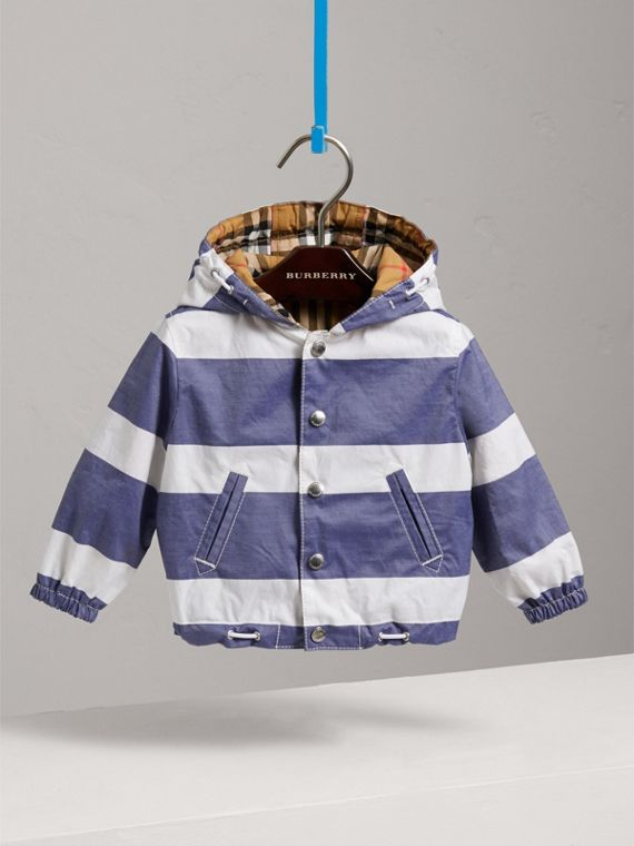 Reversible Stripe and Vintage Check Hooded Jacket in Navy/white | Burberry - cell image 2
