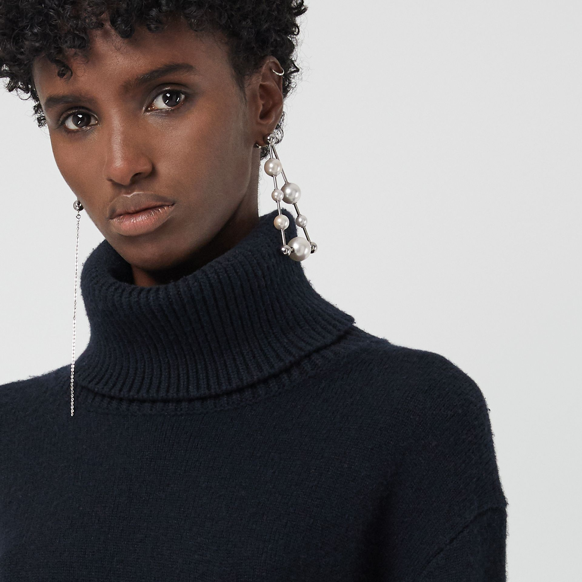 Embroidered Crest Cashmere Roll-neck Sweater in Navy - Women | Burberry United States - gallery image 3