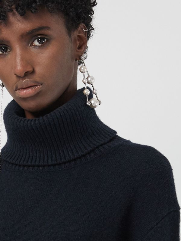 Embroidered Crest Cashmere Roll-neck Sweater in Navy - Women | Burberry United States - cell image 3