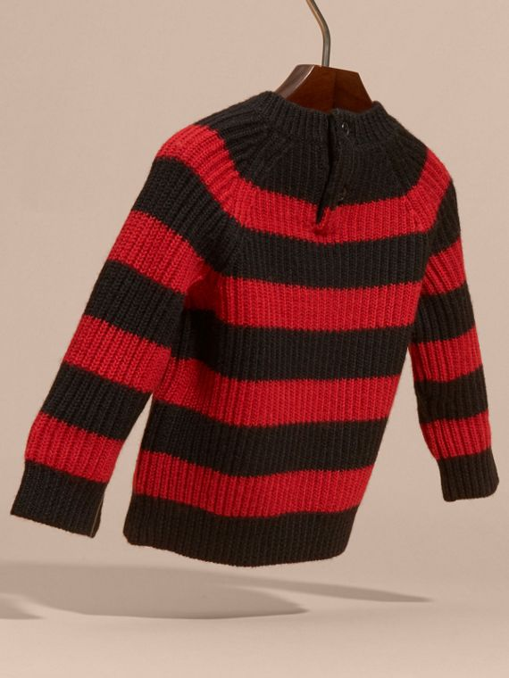 Rosso parata Pullover a righe in lana Merino - cell image 3