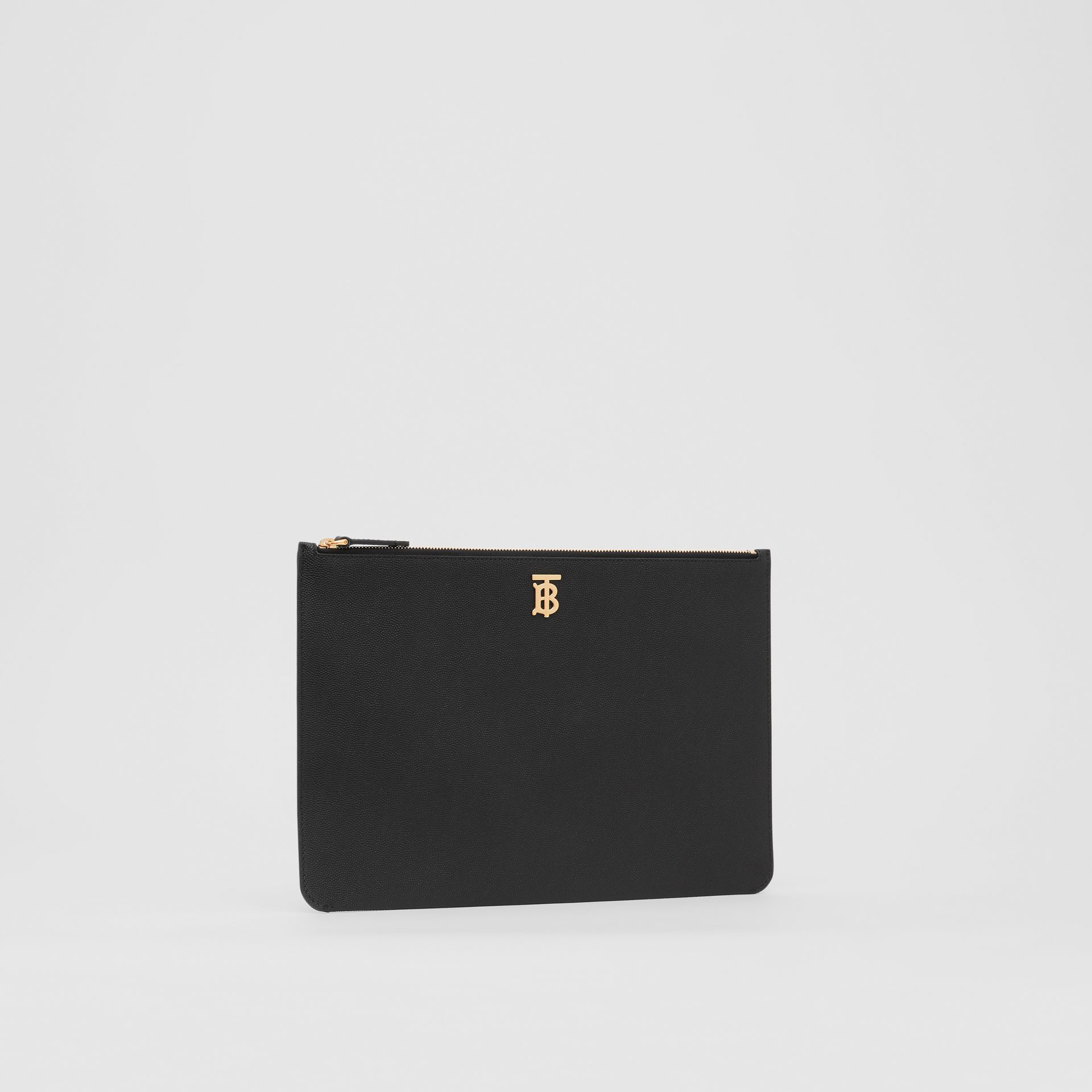 Monogram Motif Grainy Leather Pouch in Black - Women | Burberry - gallery image 5