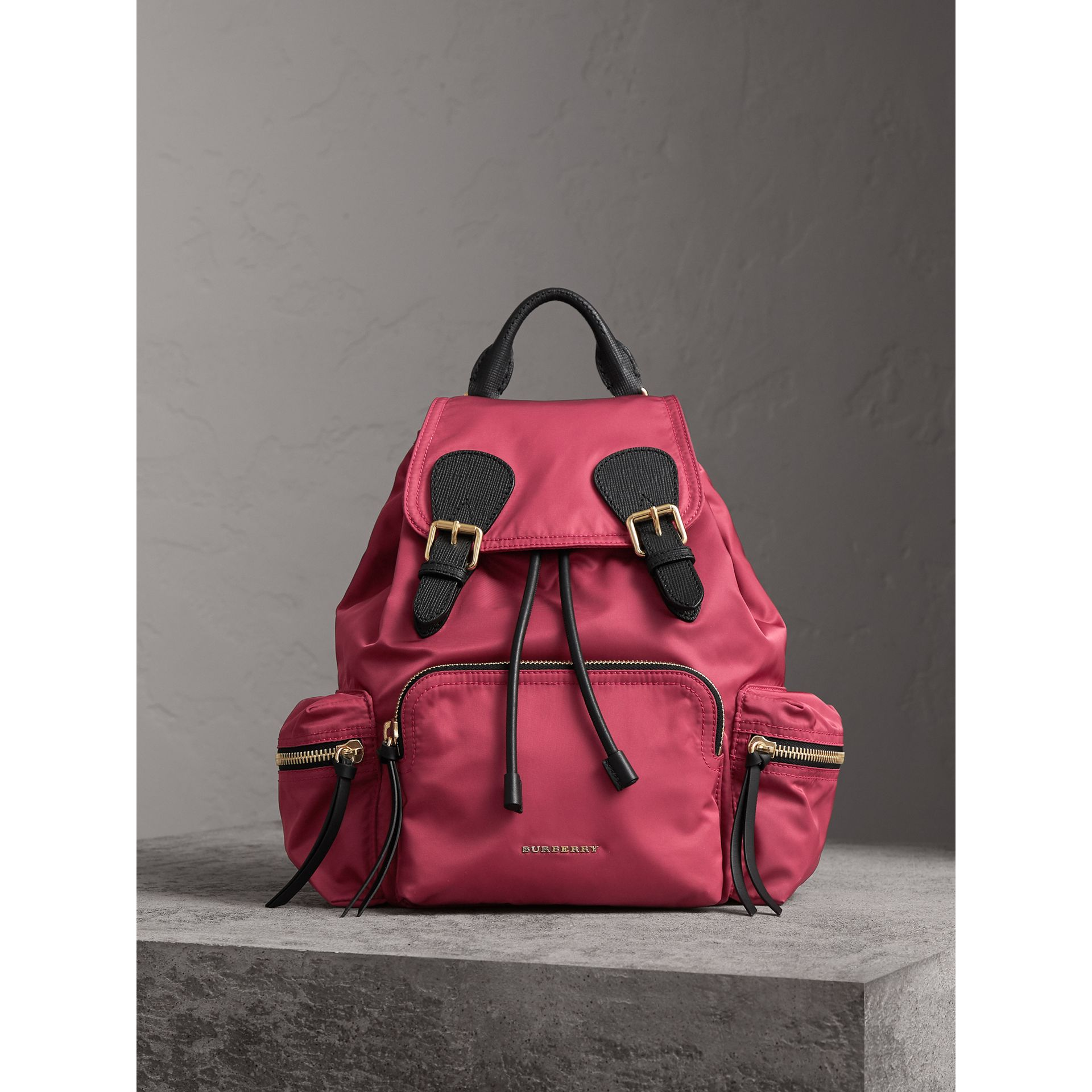 The Medium Rucksack in Technical Nylon and Leather in Plum Pink - Women | Burberry Singapore - gallery image 8