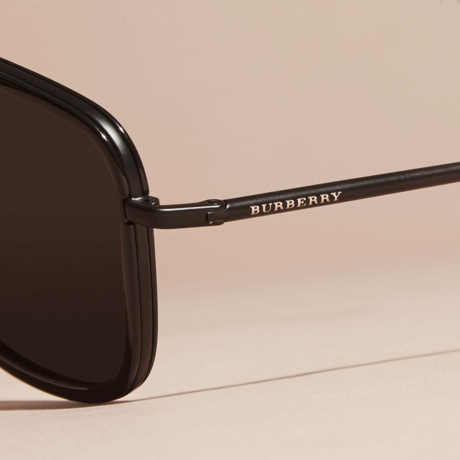 Black Square Frame Acetate and Leather Sunglasses Black - gallery image 2