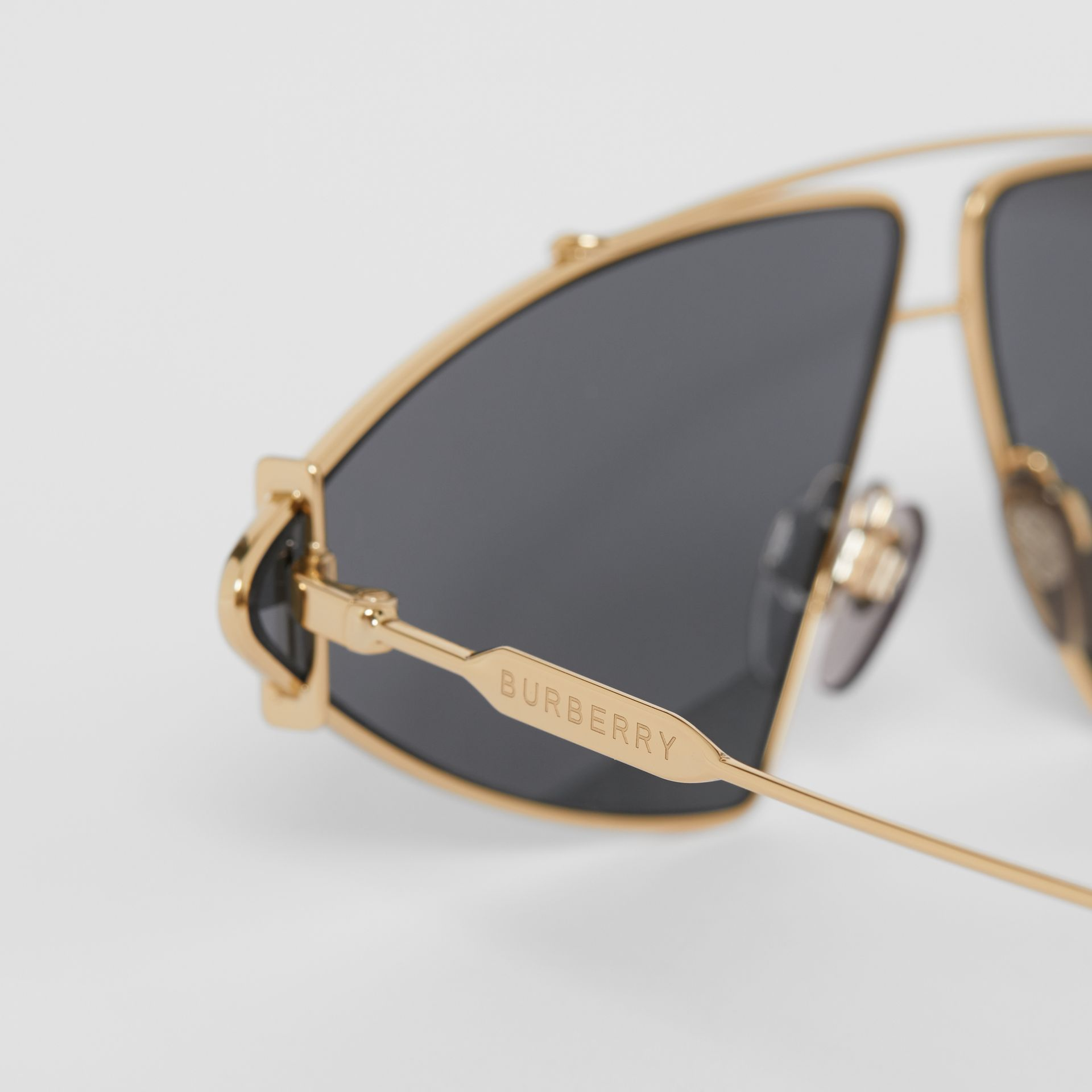 Gold-plated Triangular Frame Sunglasses in White - Women | Burberry - gallery image 1