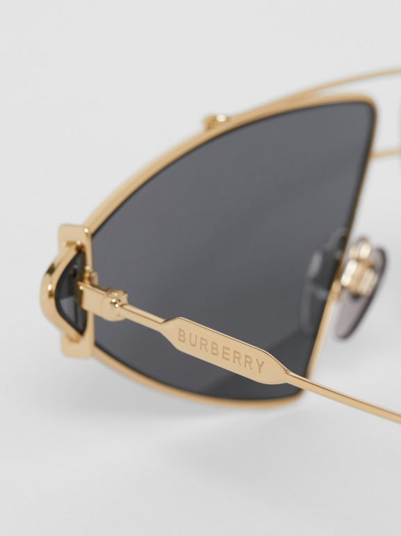 Gold-plated Triangular Frame Sunglasses in White - Women | Burberry Australia - cell image 1
