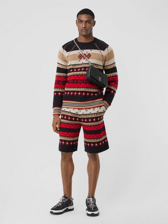 Icon Stripe Detail Fair Isle Cashmere Sweater in Black