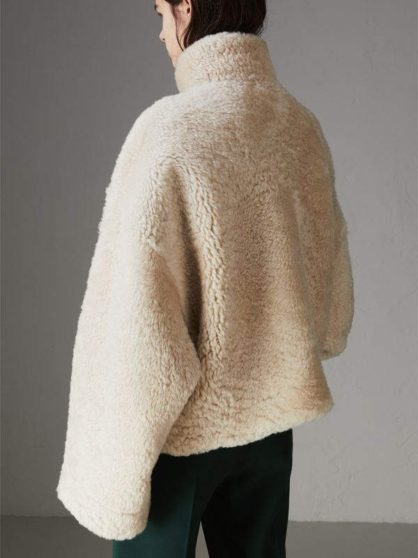 Contrast Zip Shearling Funnel-neck Jacket in Natural White - Women | Burberry - cell image 2