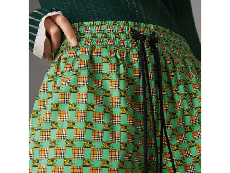 Tiled Archive Print Cotton Drawcord Shorts in Dark Forest Green - Women | Burberry - cell image 1