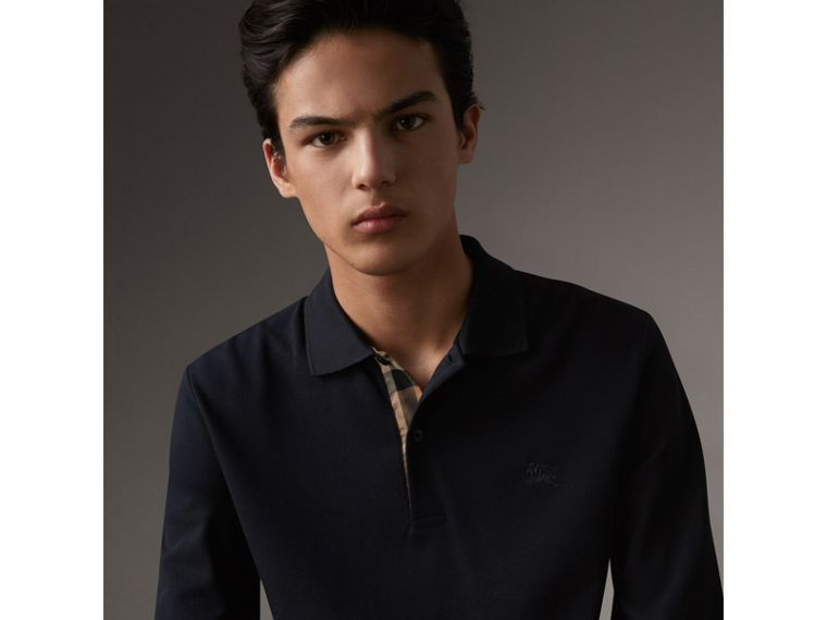 Check Placket Long Sleeve Polo Shirt in Dark Navy - Men | Burberry - cell image 4