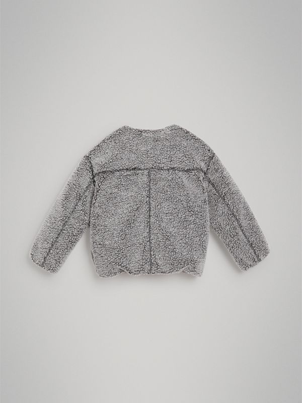 Contrast Trim Faux Shearling Jacket in Grey Melange - Girl | Burberry Australia - cell image 3