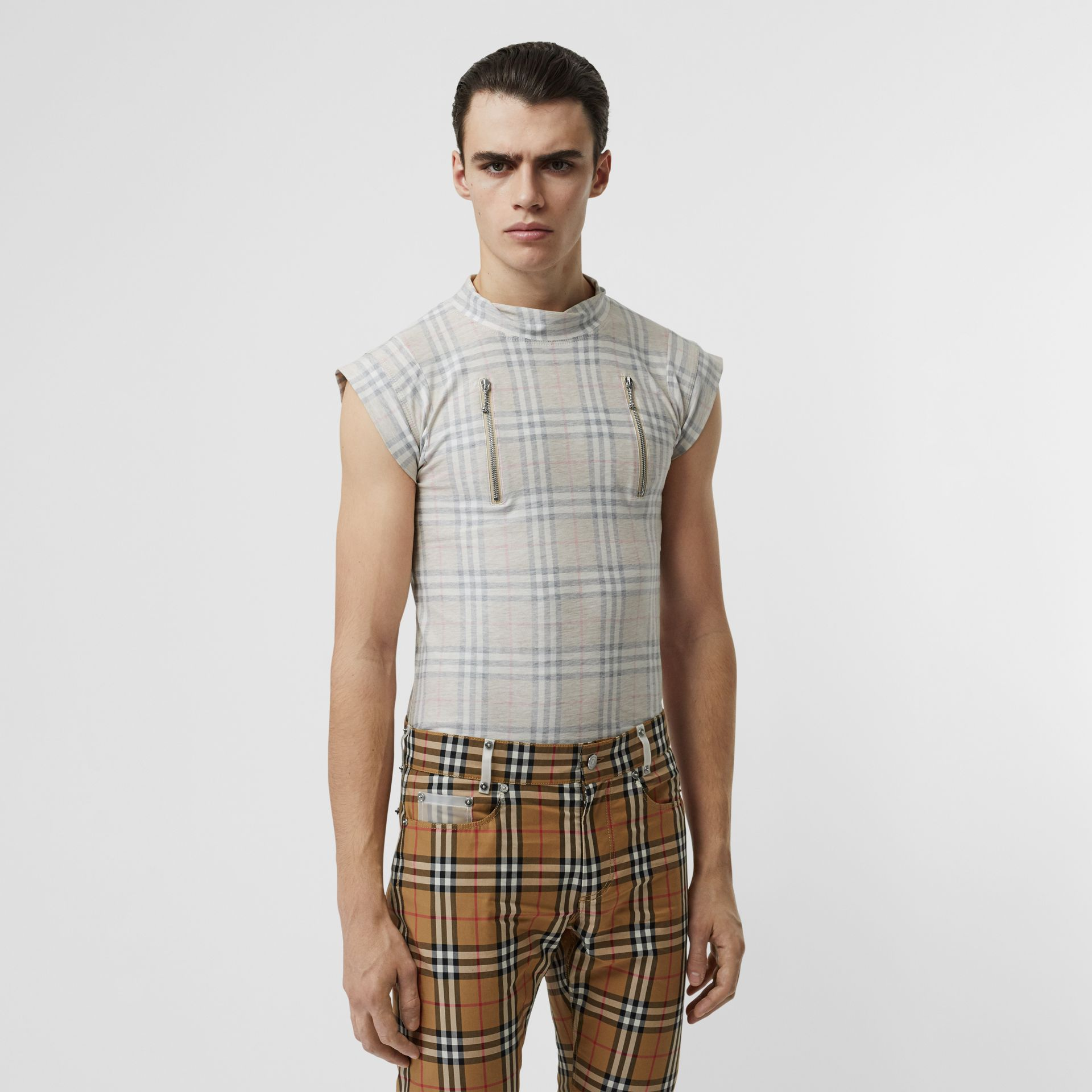 Zip Detail Vintage Check Cotton T-shirt in Antique Yellow | Burberry - gallery image 3
