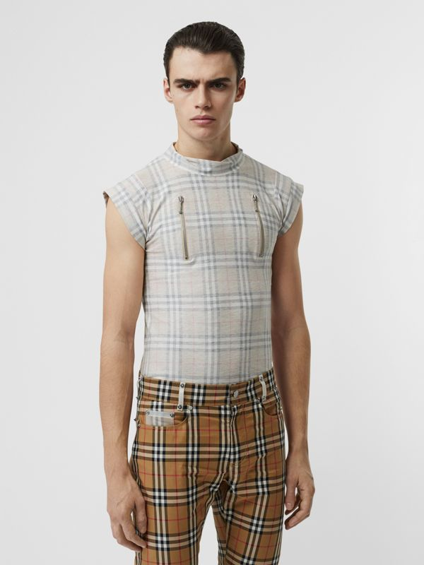 Zip Detail Vintage Check Cotton T-shirt in Antique Yellow | Burberry - cell image 3