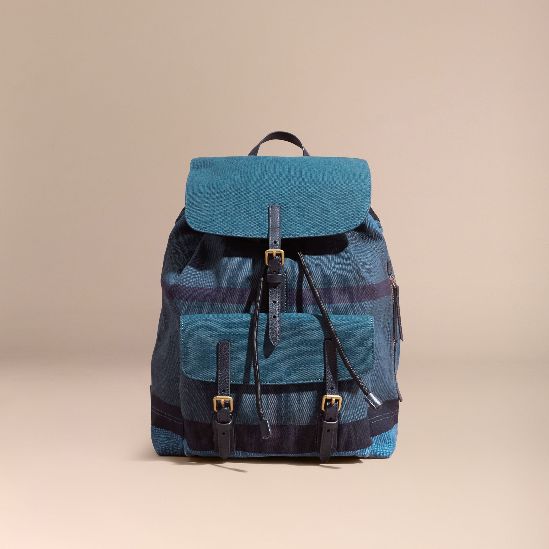 Ultramarine blue Overdyed Canvas Check Backpack Ultramarine Blue - gallery image 8