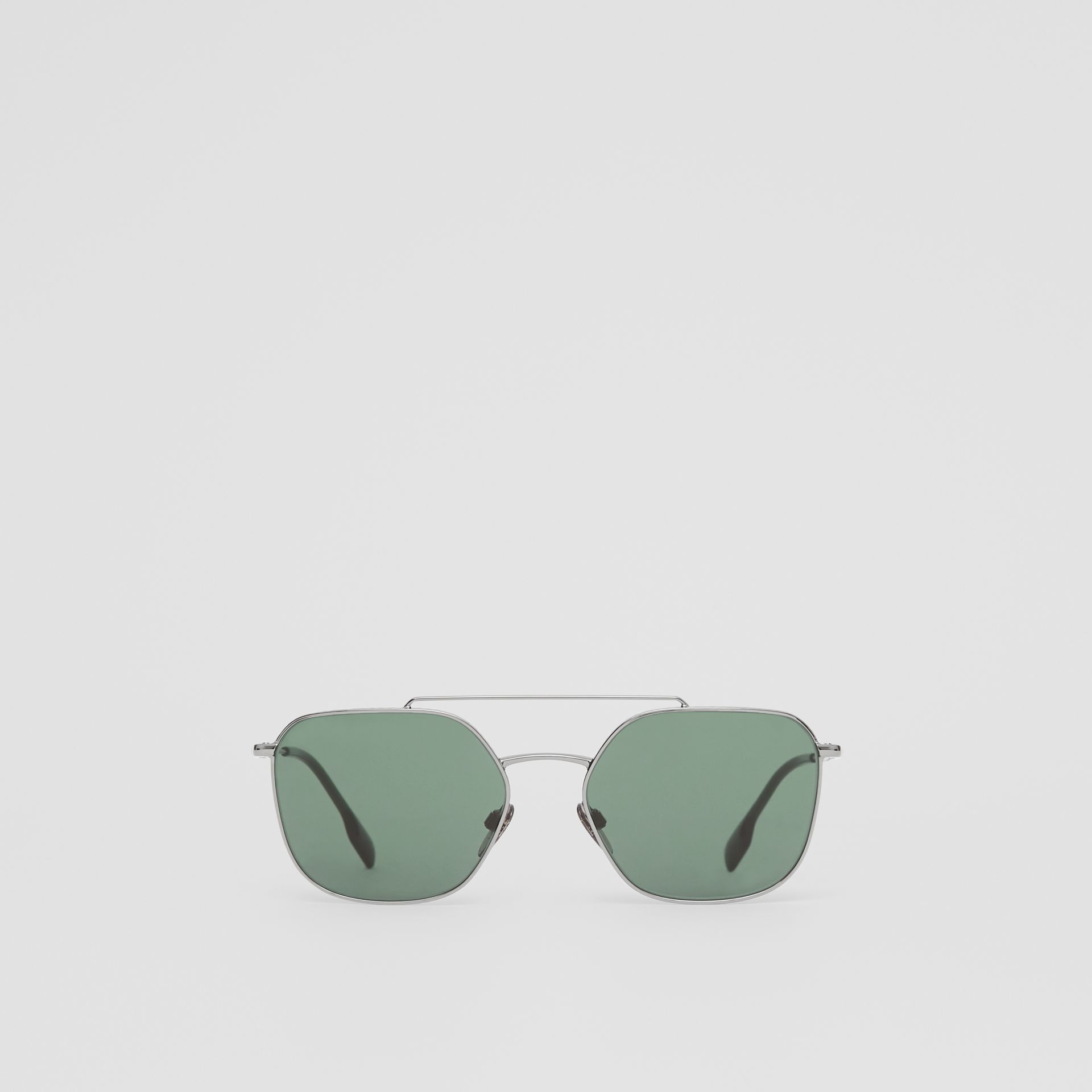 Top Bar Detail Square Pilot Sunglasses in Gunmetal Grey - Men | Burberry United States - gallery image 0