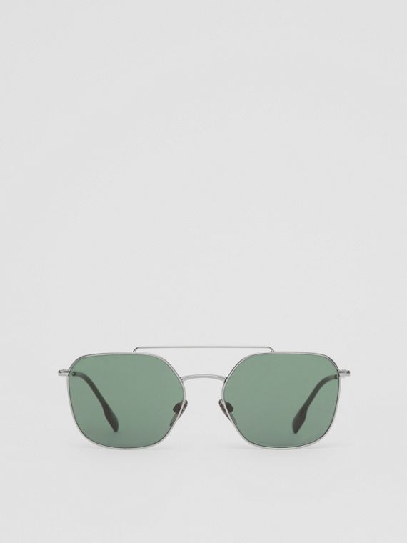 Top Bar Detail Square Pilot Sunglasses in Gunmetal Grey