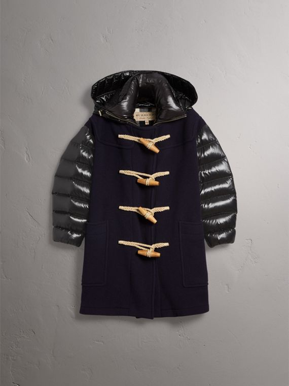 Detachable Hood Down-filled Sleeve Wool Blend Duffle Coat in Navy - Women | Burberry Australia - cell image 3